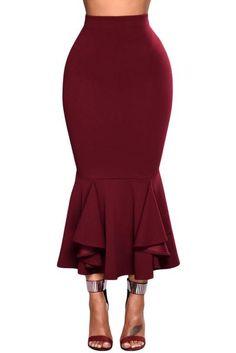 Burgundy Ruffled Midi Mermaid Skirt #midiskirt #burgundy #ruffled Bodycon Midi Skirt, Midi Skirt Outfit, Winter Skirt Outfit, Skirt Outfits, Fall Outfits, Peplum Dress, Dress Up, New Years Eve Outfits, Mermaid Skirt
