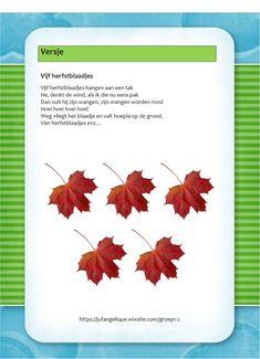 Versje: Vijf blaadjes Fall Crafts, Halloween Crafts, Yoga For Kids, Kids Education, In Kindergarten, School, Autumn, Autumn Crafts, Early Education