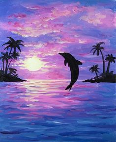 Join us for a Paint Nite event Sun Dec 2017 at 377 Maple Ave W Vienna, VA. Purchase your tickets online to reserve a fun night out! Cute Canvas Paintings, Small Canvas Art, Easy Canvas Painting, Dolphin Painting, Dolphin Art, Oil Pastel Art, Silhouette Painting, Landscape Art, Amazing Art