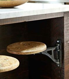Hidden Stools If you use stools in your kitchen, install hinges to save precious room space.