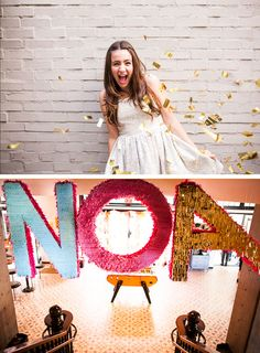 great idea for photobooth - throwing gold confetti and big letters for the backdrop or for props