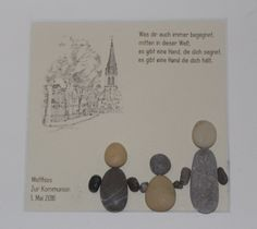 """Stein Bild  """"Zur Kommunion"""" Kiesel Art - Pebble Art - Geschenk - Geschenk Kommunion - Geschenk Taufe - Personalisierbar von StoneArt2015 auf Etsy"""