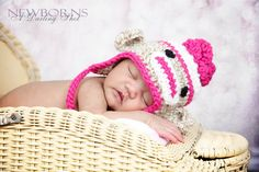 Newborn, Baby, Infant Flower Sock Monkey Earflap Hat - Great Photography Prop (Beige, White and Hot Pink ). $22.00, via Etsy.