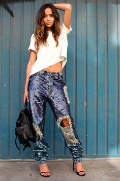sequined boyfriend jeans