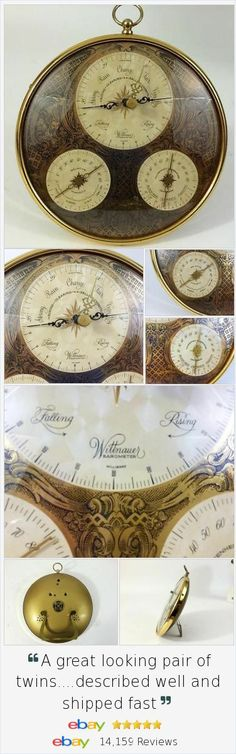 Beautiful collectible vintage #Wittnauer Weather Instrument with 3 gauges - #Barometer Humidity Temperature Cent / Fahr. Gorgeous details.