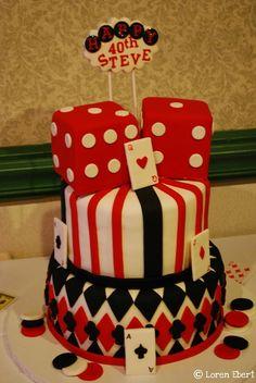 40th birthday cakes fondant tier vegas gamble