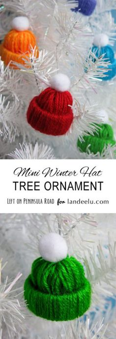Darling Winter Hat Tree Ornament Yarn Craft DIY   Landeelu - Easy and Cheap DIY Christmas Tree Ornaments