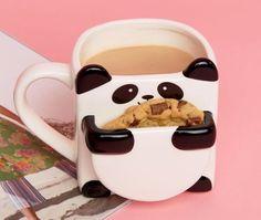 Panda mug cookie tea coffee hot chocolate biscuit