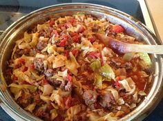 "I got this recipe from a community cookbook years ago - they were trying to raise money to get their community center some new flooring.  It was called unstuffed cabbage rolls in the book but we call it just ""Cabbage Roll Casserole"".  Not exactly as good as real cabbage rolls but a really close second if you haven't the time or inclination to fuss with cabbage rolls."