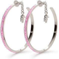 Folli Follie Folli Follie Match N' Dazzle Earrings ($65) ❤ liked on Polyvore featuring jewelry, earrings, accessories, folli follie jewelry, hoop earrings, folli follie, pink earrings and pink jewelry