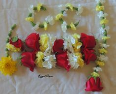 Red, yellow and white bridal set