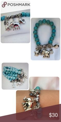 🆕  🌸 Turquoise Boho Charm Bracelet Turquoise style beaded bracelet with elephant, owl, turtle, heart & raindrop charms. Made with zinc alloy materials. Non tarnish. Stretch bracelet, One Size. Made in the USA. Twilight Gypsy Collective Jewelry Bracelets