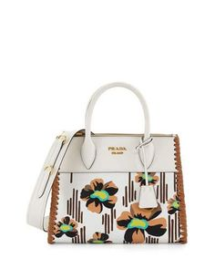 Small Floral-Printed Madras Paradigm Whipstitch Tote Bag, White/Brown (Bianco+Caramel)