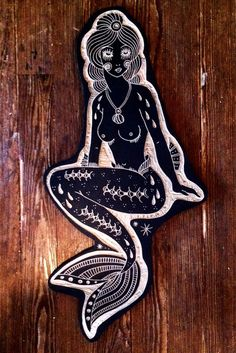 Mermaid for Beth. Woodcut by Bryn Perrott Linolium, Linocut Prints, Art Prints, Block Prints, Tattoos Mandala, Illustrator, Stamp Carving, Mermaids And Mermen, Mermaid Art