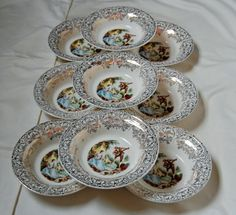 American Limoges Set of 9 Berry Bowls Triumph by MarieWarrenArts, $25.00