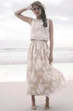 """Ivory Lace Top %26 """"Kennedy"""" Skirt   Article: Crop Top Wedding Dresses for the Nontraditional Bride   Photography: Courtesy of BHLDN   Read More:  http://www.insideweddings.com/news/fashion/crop-top-wedding-dresses-for-the-nontraditional-bride/2423/"""