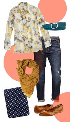 Women's Fall floral outfit