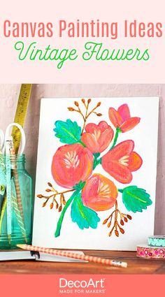 Looking for easy canvas painting ideas? Try these vintage flowers for a beginner-friendly acrylic painting! All You need is a few bottles of DecoArt acrylic paint. Vintage Flowers, Vintage Floral, Easy Canvas Painting, All You Need Is, Bottles, Fine Art, Create, Projects, Inspiration