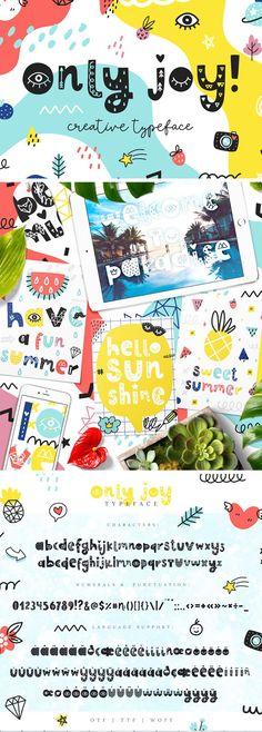 Only Joy typeface Kid Fonts, Cute Fonts, Poster Fonts, Posters, Summer Font, Geometric Font, Cricut Fonts, Vintage Fonts, Kids Poster