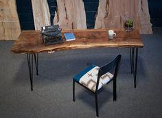 Your Custom Desk- Live Edge Desk- Industrial Desk- Rustic Desk- Wooden Desk- Maple- Walnut- Cherry- Natural Wood Desk- Modern Desk- Office Wood Office Desk, Diy Computer Desk, Oak Desk, Rustic Desk, Rustic Furniture, Modern Rustic, Reclaimed Wood Desk, Industrial Desk, Bedroom Rustic