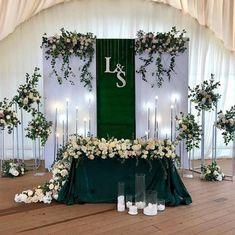 Metal Wedding Arch, Wedding Stage, Light Wedding, Dream Wedding, Head Table Wedding, Green Wedding Decorations, Wedding Ceremony Decorations, Decor Wedding, Emerald Wedding Colors