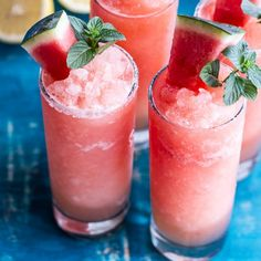 Pink Watermelon Lemonade Slushies..summer in a glass! And so easy too!
