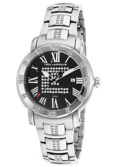 Ted Lapidus Watches Women's Crystal Silver-Tone Stainless Steel Black Dial A0532GNRXSM,    #TedLapidus,    #A0532GNRXSM,    #Fashion