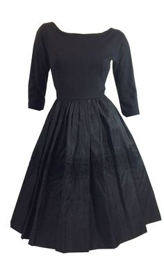 Jet Black Taffeta and Wool Full Skirt Party Dress w/ Embroidered Detail circa 1950s Dorothea's Closet Vintage Clothing