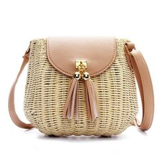 Yoins Straw-Woven Crossbody (€22) ❤ liked on Polyvore featuring bags, handbags, shoulder bags, purses, beige, woven shoulder bag, straw shoulder bag, hand bags, beige purse and handbags crossbody