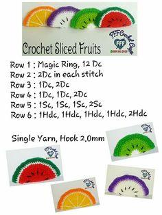 Crochet sliced fruits