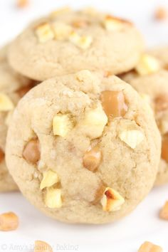 Caramel Apple Cookies -- so buttery & soft but secretly healthy! There's never a single crumb left when I make this recipe!
