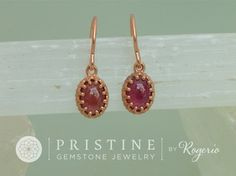 Rose Gold Ruby Dangle Earrings in Vintage Style Mountings