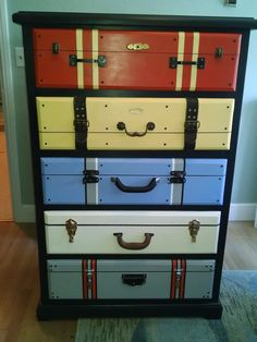 Suitcase Dresser. Drawers painted to look like suitcases. Inspired from a post on facebook