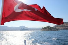 Kusadasi and Turkish flag