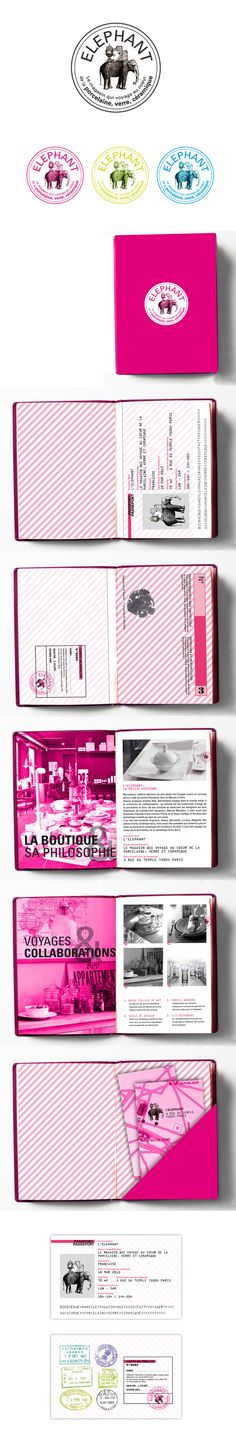 Fun and Bold identity design. Elephant by Marion Dufour, via Behance