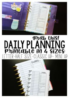 Free Daily Planning Printable in 4 sizes! Letter, half letter, Classic Happy Planner, and Mini Happy Planner! Daily Planner Printable, Free Planner, Planner Pages, Planner Stickers, Planner Ideas, Planner Diy, Planner Supplies, Binder Planner, Discbound Planner