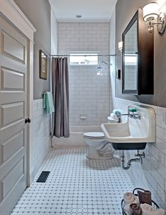 Lovely Gray Subway Tile Bathroom Bathroom Traditional with Porcelain Floors Carl Mattison Medicine Cabinets Farmhouse Sink Bathtub/shower Combo Grant Park Trough Reclaimed Recessed Bad Inspiration, Bathroom Inspiration, Bath Design, Tile Design, Bathtub Shower Combo, Bath Shower, Bath Tub, Ceramic Tile Bathrooms, Bathrooms