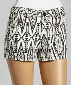 Look at this #zulilyfind! Black & White Southwestern High-Waist Denim Shorts by Boom Boom Jeans #zulilyfinds
