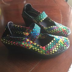 FINAL PRICE! Steve Madden Brice Wedge NEW STEVEN BY STEVE MADDEN BRICE BRIGHT MULTI COLOR WOVEN WEDGE SLIP ON SHOES  Size - 7.5 Brand & Style - Steven Steve Madden Brice Width - Medium (B, M) True Color - Bright Multi  Outsole Material - Man-Made Heel Height - 2.5 Inches Steve Madden Shoes Wedges