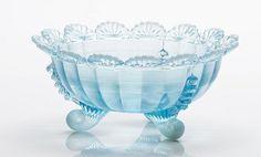 Mosser glass aqua footed fruit bowl