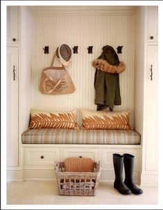 beadboard, built-in storage, bench- we NEED a nook like this!