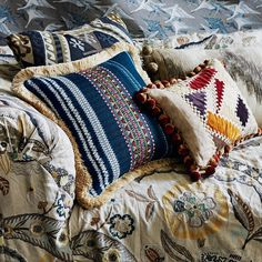"""136 Likes, 4 Comments - Mulberry Home (@mulberry_home) on Instagram: """"Bohemian Travels Oakwood in Woodsmoke, cushions in Festival Collection Festival Stripe Embroidery…"""""""
