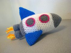 Rocket amigurumi crochet toy that rattles (ONE 8 inch) Sky Rockets in Flight. $34.00, via Etsy.
