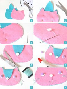 DIY Kitten Clutches step by step Sewing For Kids, Diy For Kids, Crafts For Kids, Felt Diy, Felt Crafts, Diy Crafts For School, Felt Phone Cases, Sewing Crafts, Sewing Projects