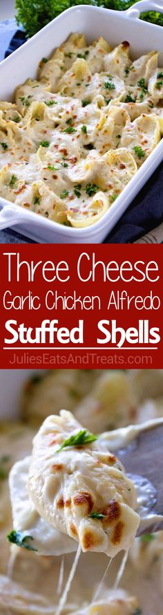 Jumbo Pasta Shells Stuffed with Three Kinds of Cheese and Topped with Creamy Alfredo Sauce! These Chicken Alfredo Stuffed Shells are perfect for a Quick, Easy Dinner or Lunch! #pasta #chickenalfredo #alfredo #recipe #julieseatsandtreats via @julieseats