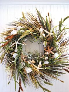 natural sea shells & beach grass.  Love this even without the shells!