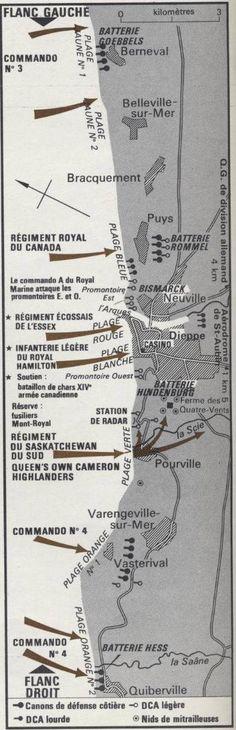 19 août 1942, à Dieppe, carte détaillée du débarquement