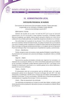 Convocatoria de subvenciones para actividades culturales y fiestas patronales programadas en los municipios y Entidades Locales Menores de la provincia de Burg…