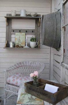 Rustic outdoor corner.  Reminds me of my granddad's house.