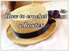 【キッズサイズ】カンカン帽(Boater)の編み方☆【かぎ針編み】お子様(KIDS)☆crochet☆ - YouTube